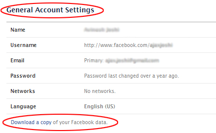 Here's where you download a copy of your Facebook Data